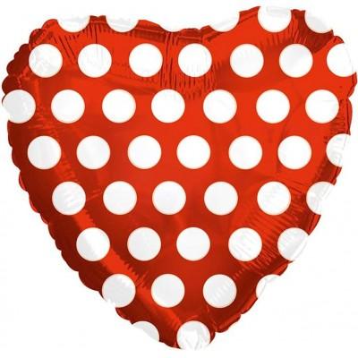 Фольгированный воздушный шар-сердце В белый горошек красный (46 см)