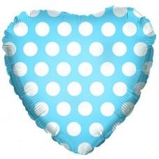 Фольгированный воздушный шар-сердце В белый горошек голубой (46 см)