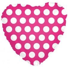 Фольгированный воздушный шар-сердце В белый горошек фуше (46 см)