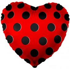 Фольгированный воздушный шар-сердце Черные точки-1 красный (46 см)