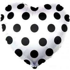 Фольгированный воздушный шар-сердце Черные точки белый (46 см)