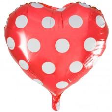 Фольгированный воздушный шар-сердце Точки красный (46 см)