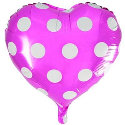Фольгированный воздушный шар-сердце Точки фуше (46 см)