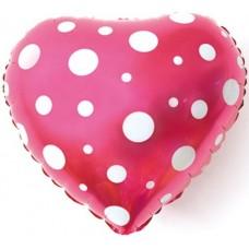 Фольгированный воздушный шар-сердце Белые точки розовый (46 см)