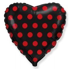 Фольгированный воздушный шар-сердце Красные точки черный (46 см)