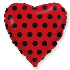Фольгированный воздушный шар-сердце Черные точки красный (46 см)