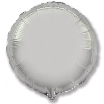 Однотонный фольгированный воздушный шар-круг серебро (81 см)