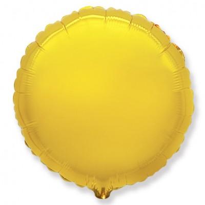 Однотонный фольгированный воздушный шар-круг золото (81 см)