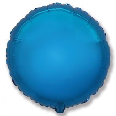 Однотонный фольгированный воздушный шар-круг синий (81 см)