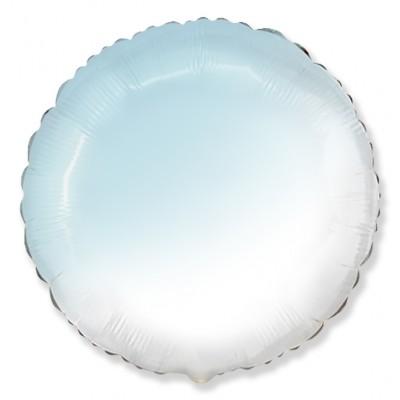 Однотонный фольгированный воздушный шар-круг голубой градиент (81 см)