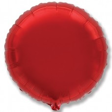 Однотонный фольгированный воздушный шар-круг красный (81 см)