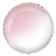 Однотонный фольгированный воздушный шар-круг розовый градиент (81 см)