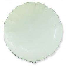 Однотонный фольгированный воздушный шар-круг белый (81 см)