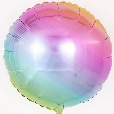 Однотонный фольгированный воздушный шар-круг нежная радуга градиент (46 см)