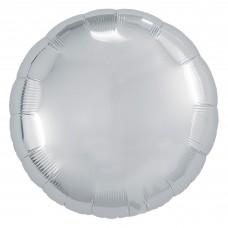 Однотонный фольгированный воздушный шар-круг серебро (46 см)