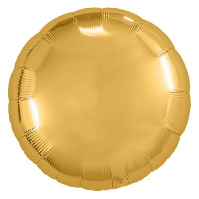 Однотонный фольгированный воздушный шар-круг золото (46 см)