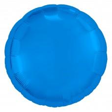 Однотонный фольгированный воздушный шар-круг синий (46 см)