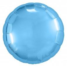 Однотонный фольгированный воздушный шар-круг холодно-голубой (46 см)