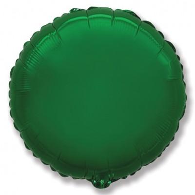Однотонный фольгированный воздушный шар-круг зеленый (46 см)