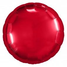 Однотонный фольгированный воздушный шар-круг красный (46 см)