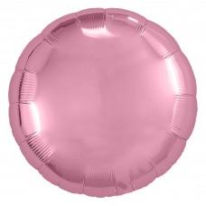 Однотонный фольгированный воздушный шар-круг розовый фламинго (46 см)