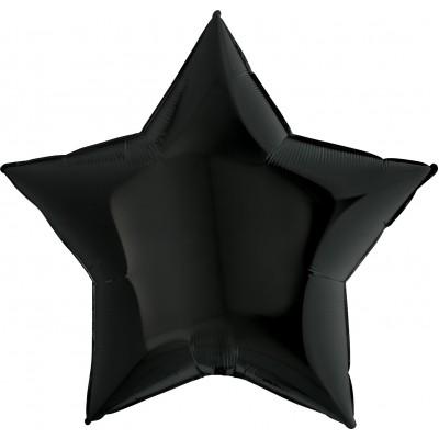 Однотонный фольгированный воздушный шар-звезда черный (91 см)
