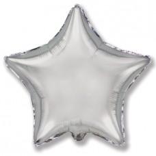 Однотонный фольгированный воздушный шар-звезда серебро (81 см)