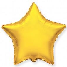 Однотонный фольгированный воздушный шар-звезда золото (81 см)