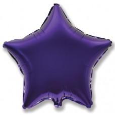 Однотонный фольгированный воздушный шар-звезда фиолетовый (81 см)