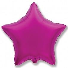 Однотонный фольгированный воздушный шар-звезда пурпурный (81 см)