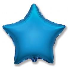 Однотонный фольгированный воздушный шар-звезда синий (81 см)