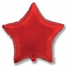Однотонный фольгированный воздушный шар-звезда красный (81 см)