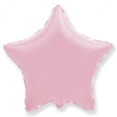 Однотонный фольгированный воздушный шар-звезда розовый (81 см)