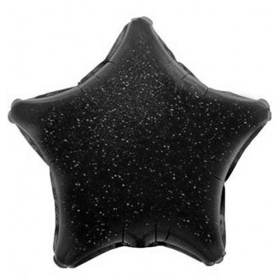 Однотонный фольгированный воздушный шар-звезда черный голография (46 см)
