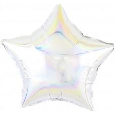 Однотонный фольгированный воздушный шар-звезда перламутровый блеск серебро голография (46 см)