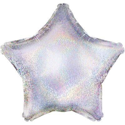 Однотонный фольгированный воздушный шар-звезда серебро голография (46 см)