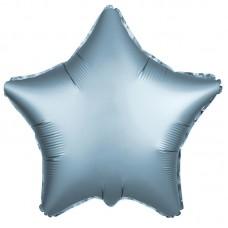 Однотонный фольгированный воздушный шар-звезда сталь сатин (53 см)