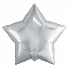 Однотонный фольгированный воздушный шар-звезда серебро (46 см)