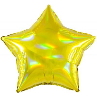 Однотонный фольгированный воздушный шар-звезда перламутровый блеск золото голография (46 см)