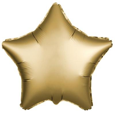 Однотонный фольгированный воздушный шар-звезда золото сатин (53 см)