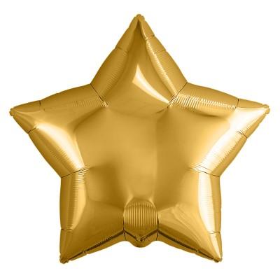Однотонный фольгированный воздушный шар-звезда золото (46 см)