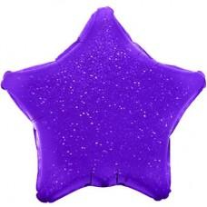 Однотонный фольгированный воздушный шар-звезда фиолетовый голография (46 см)