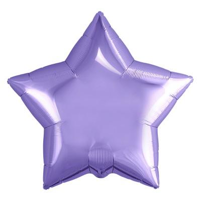 Однотонный фольгированный воздушный шар-звезда аметист (53 см)