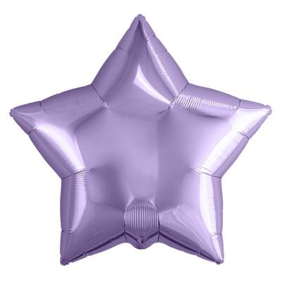 Однотонный фольгированный воздушный шар-звезда сиреневый (53 см)