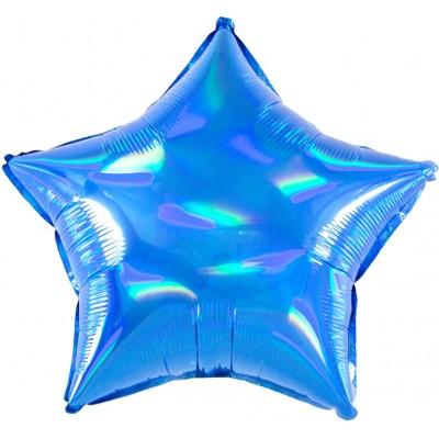 Однотонный фольгированный воздушный шар-звезда перламутровый блеск синий голография (46 см)