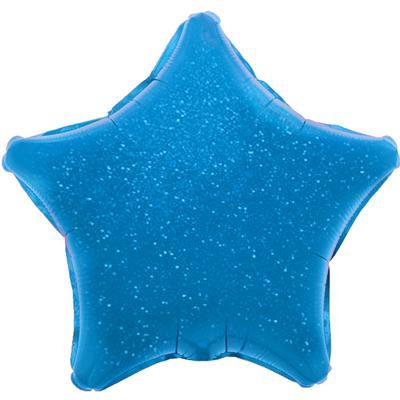 Однотонный фольгированный воздушный шар-звезда синий голография (46 см)