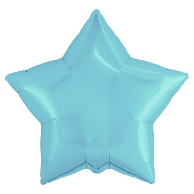 Однотонный фольгированный воздушный шар-звезда нежно-голубой (53 см)