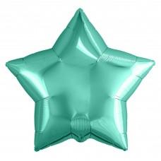Однотонный фольгированный воздушный шар-звезда бискайский зеленый (53 см)