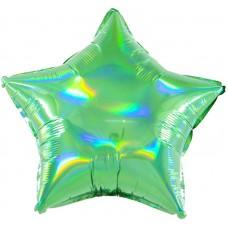 Однотонный фольгированный воздушный шар-звезда перламутровый блеск зеленый голография (46 см)