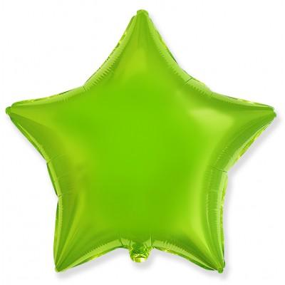 Однотонный фольгированный воздушный шар-звезда лайм (46 см)